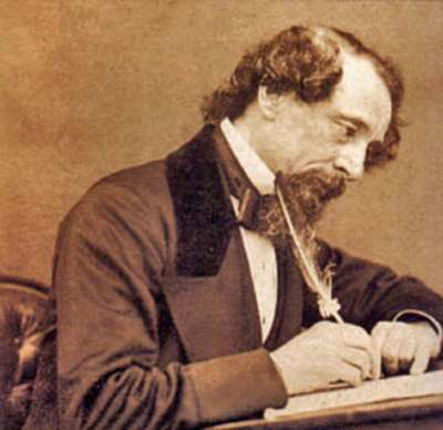 Charles Dickens writing.